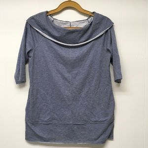 Chico's Zenergy French Terry Boat Neck Top Gray XL